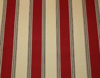 Richloom Solarium Chili Red Beige Stripe Outdoor Furniture Fabric 8.1 Yards