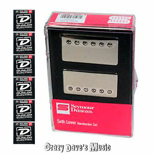 Seymour-Duncan-Seth-Lover-Humbucker-Pickup-Set-Nickel-SH-55-NEW-w-Dunlop-Med-x6