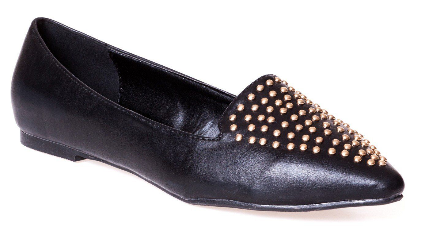 Versace1969 ITALIA 'Gemma' 19V69 Black Loafers Flat Gold Tone Studs Shoes New