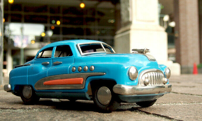 Masudaya BUICK bluee 1950s Vintage Tin Toy Friction Car From JAPAN