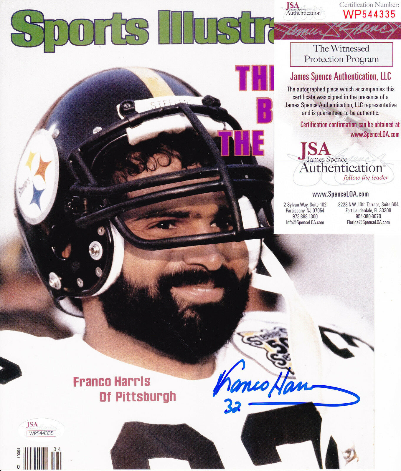 Franco Harris Pittsburgh Steelers JSA Authen Sports Illustrated Firmado