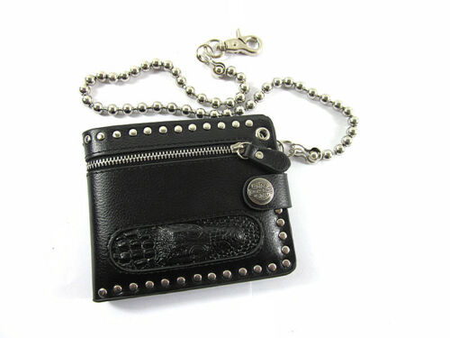 Men/'s Crocodile Head Leather Bifold Snap Wallet Rocker Biker Purse Chain Black