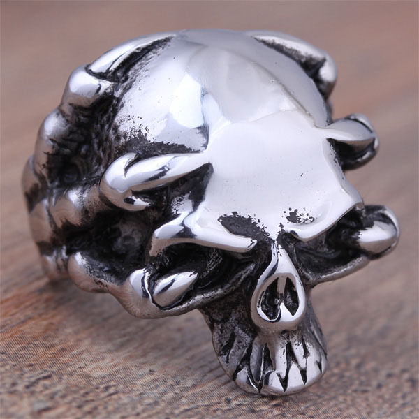 Men's Stainless Steel Silver Fashion Gothic Skull Biker Rings Jewelry Size 7-13