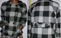 womens ladies new black grey checkard duffle wool coat  jacket uk size 10 12