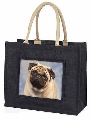 beige Mops Hund große schwarze Einkaufstasche Weihnachten Geschenkidee, ad-p1blb