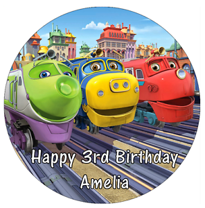 "Chuggington Personalised Birthday Cake Topper Edible 7.5/"" Wafer Cake Decoration"