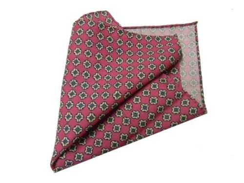 Pochette lana uomo fazzoletto da taschino rosa elegante con disegni beige