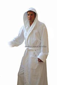 "Men's Pink Hooded Terry Spa Bathrobe - 53"" Length 100% Cotton"