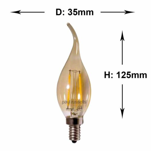 LED Filament Bulb 2W=25W 4W=40W SES E14 BC B22 ES E27 Flame Bent Tip Candle