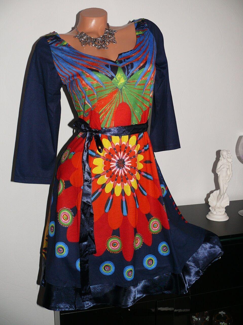 ♥ Design Kleid  Vintage A-Linie Floral Muster blueme blue  34 36 38 40 42 gr NEU♥