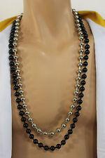 New Men Necklace Black Silver Metal Balls Chain Long Fashion Hip Hop Jewelry