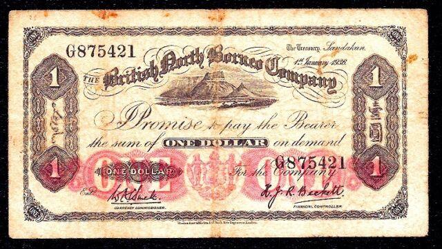British North Borneo 1 Dollar 1936 P-28 * Mount Kinabalu * Prefix  G