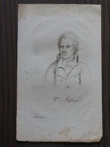 Alfieri Vittorio (1749-1803) - Dramaturge - Gravure Originale Xixeme Belle Qualité