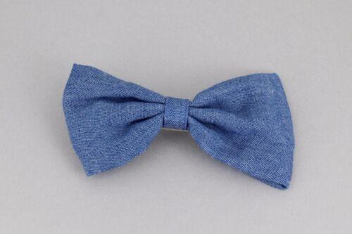 """Blue denim chambray barrette fabric bow metal hair clip barrette hair 4/"""" wide"""