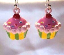 """Cupcake Earrings Pink Sprinkles Cherry On Top Sweet Treat Pierced Hook 3/4"""""""