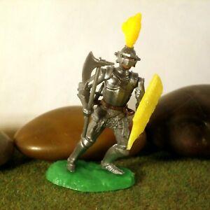 Original-Hausser-Elastolin-5-6cm-Steckfigur-beweglich-schoener-silberner-Ritter