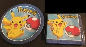 Plates Pokemon Birthday Party Supplies Combo for 8 Guests Napkins Cake Plates