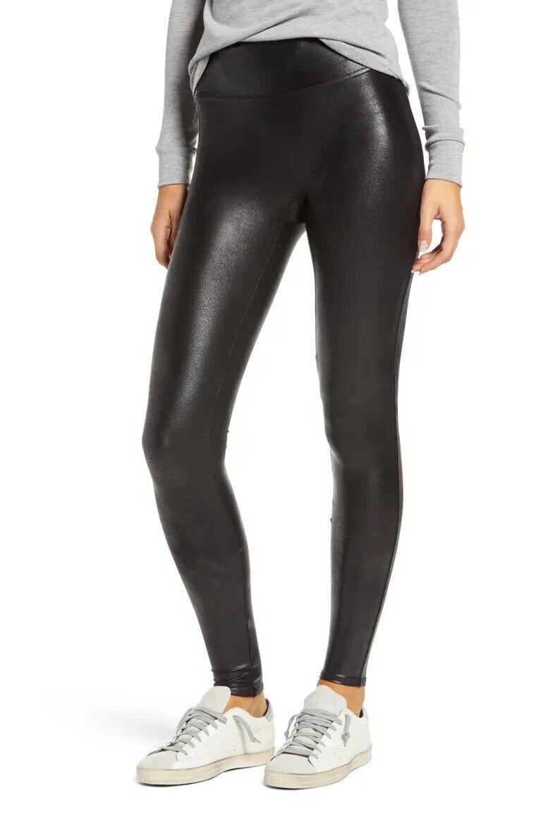 Spanx Black Faux Leather Leggings Size XS Petite 20Q for sale ...