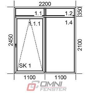 Details zu Tür Balkontür PVC Schiebefenster weiß oberlicht 220 x 245cm TOP  PREIS!!!