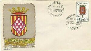 FDC-Erste-Dia-Spanien-1963-Wappen-Gerona