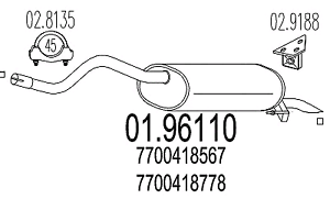 MARMITTA TERMINALE RENAULT CLIO II 1.2 1.4 1.9D