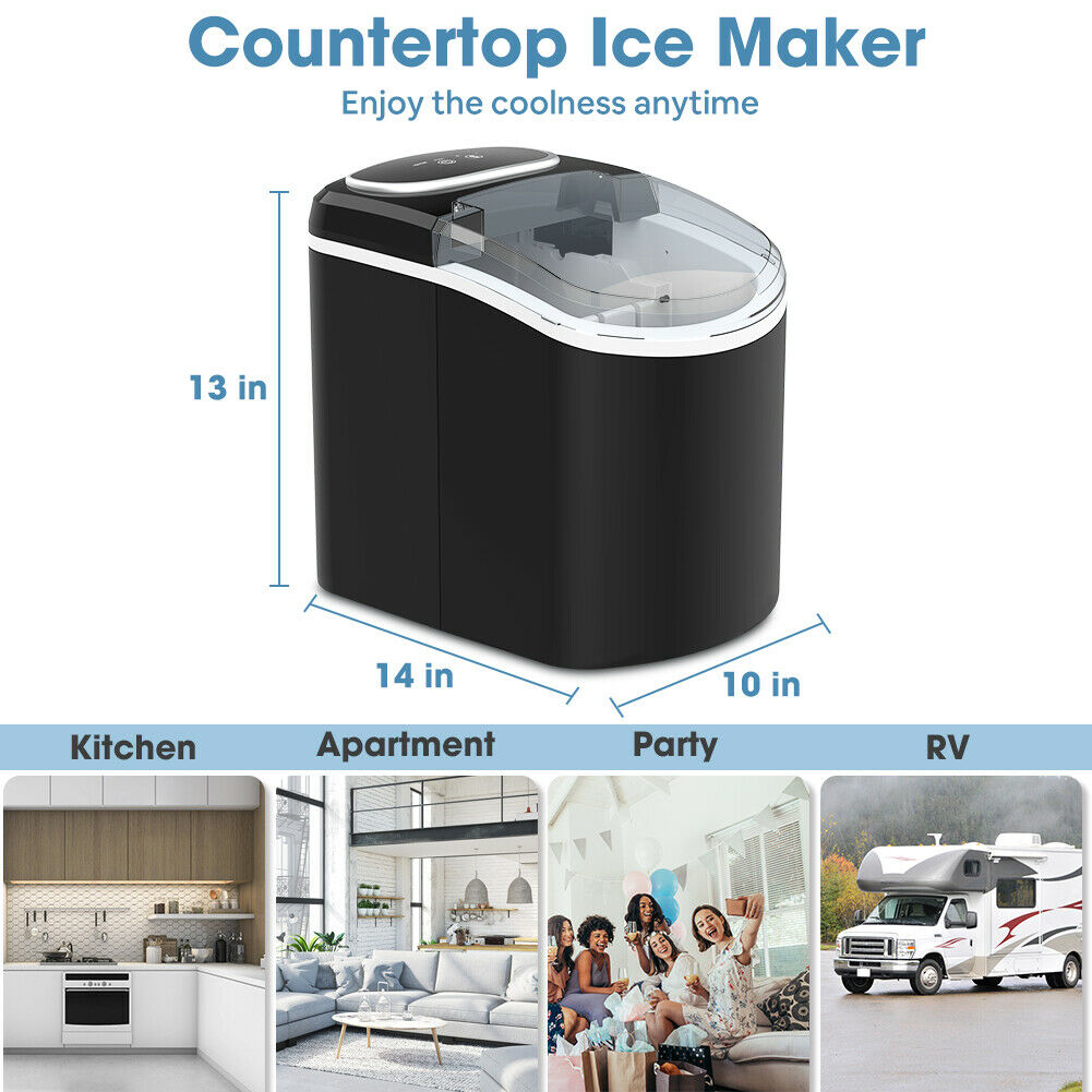 Image 61 - Portable Ice Maker Machine Countertop 26 LBS/24H Self-cleaning w/ Scoop Black