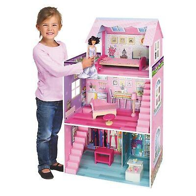 riesengroßes Holz Puppenhaus rosa 3 Stockwerke 106 x 61 x 29 cm