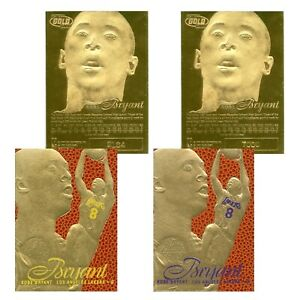 1996-97-KOBE-BRYANT-Feel-the-Game-Fleer-NBA-Legacy-Gold-Rookie-Cards-SET-of-2
