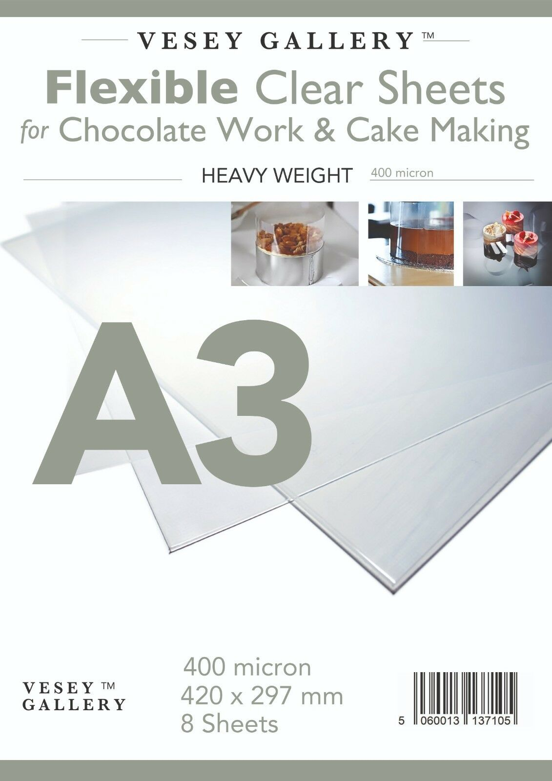 8 Sheets 400micron A3 Flexible Acetate for Chocolate Work and Cake Making