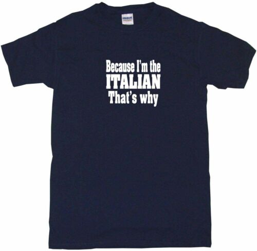 Because I/'m The Italian That/'s Why Mens Tee Shirt Pick Size Color Small-6XL