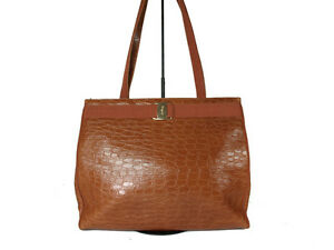 edadf7a1a070 Image is loading Authentic-Salvatore-Ferragamo-Ganchini-Browns-Leather-Tote- Bag-