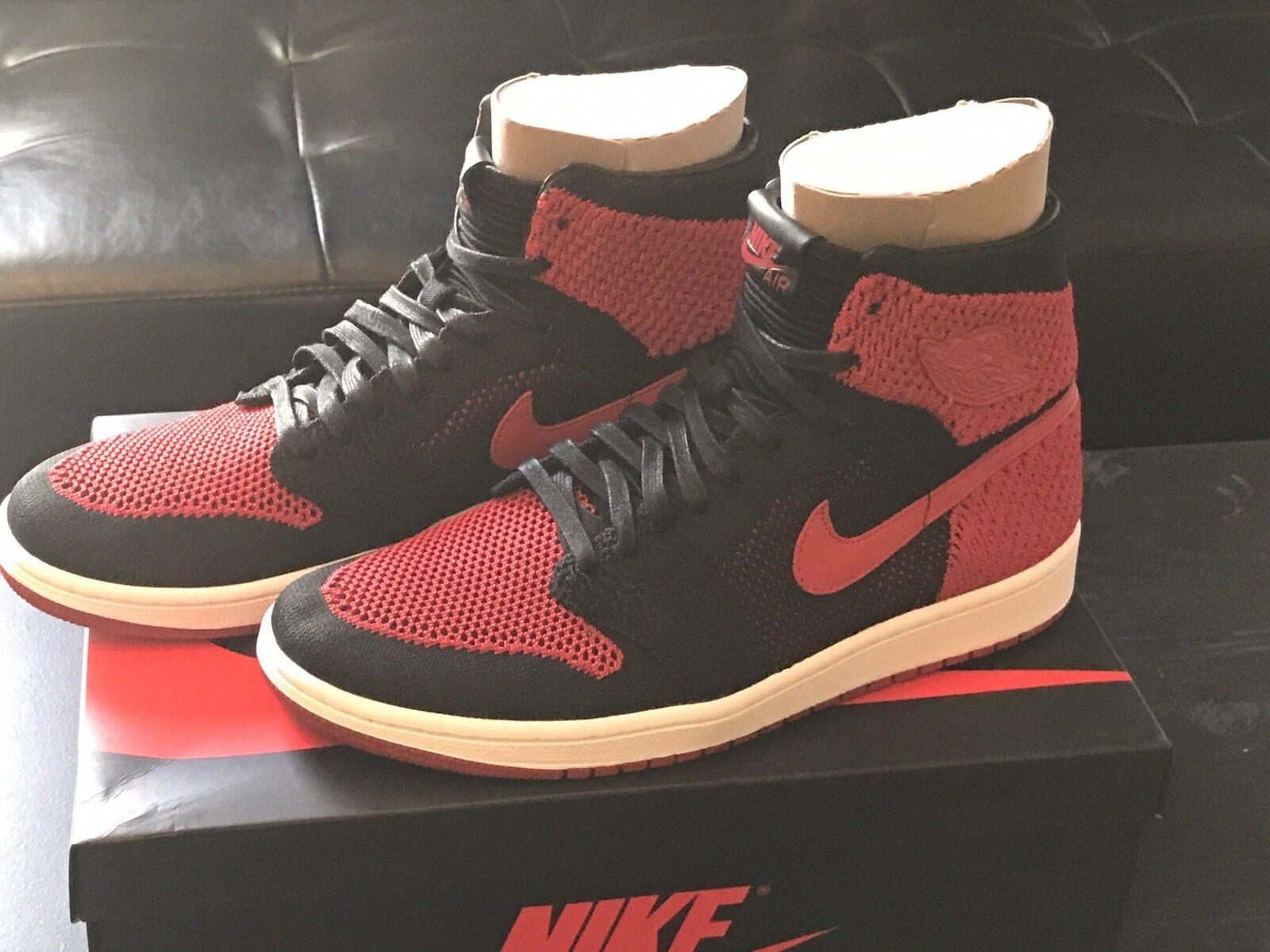 Nike Air Jordan Retro 1 High Banned Flyknit Bred Black Red