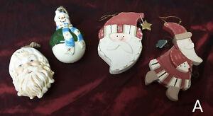 LOT-4-Folk-Art-Country-Christmas-Ornaments-Ceramic-Wood-Santa-Snowman-Primitive