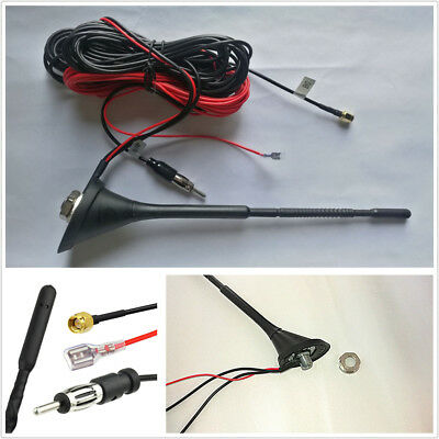 Car Roof Mount Radio AM//FM Aerial Amplified Antenna SMA Connector 5M Cable DAB