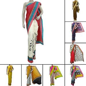 Bollywood Saree Party Wear Ethnic Pakistani Designer Wedding Art Silk Sari