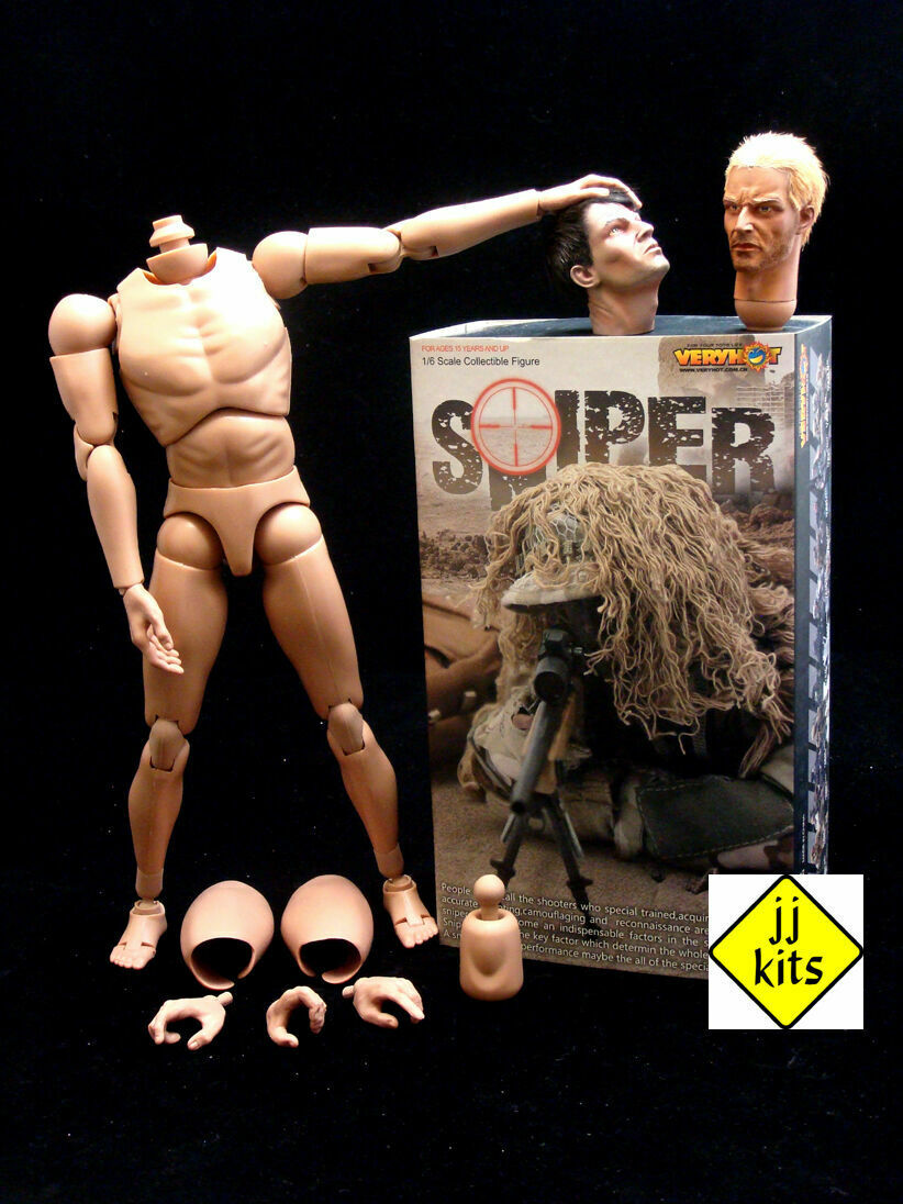 1 6 VeryHot SNIPER complete set - Body + 2 Heads + Box set NEW & NEVER OPENED