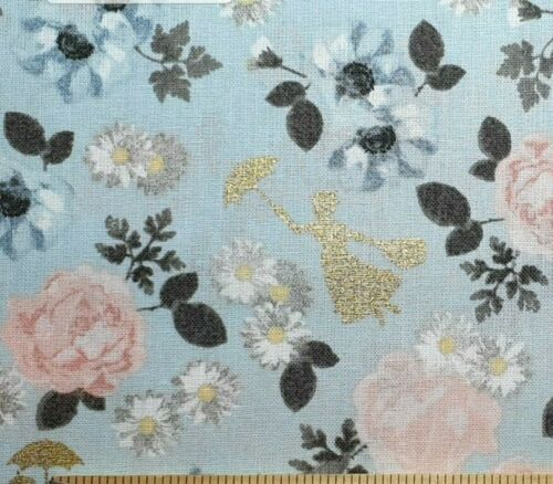 """100/% Cotton Blue floral gold metallic 44/"""" fabric Disney Mary Poppins Blossom"""