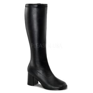Wide Fit Black Funtasma Boots Knee Pu Pleaser Stretch 300wc Gogo High Retro txwYgqq6B0