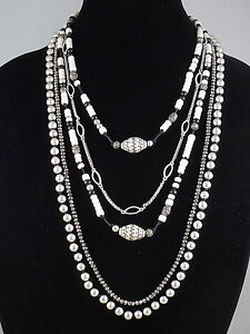 Lucky-Brand-Silvertone-Hematite-Cream-Beaded-Multi-Strand-Convertible-Necklace