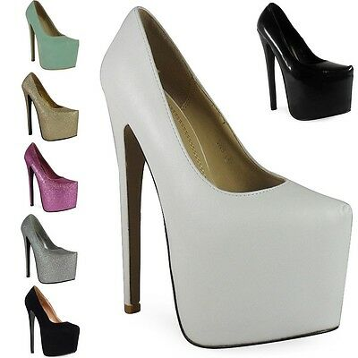 New Womens Ladies Black Platform 7 Inch High Stiletto Heel Pumps Court Shoes Siz