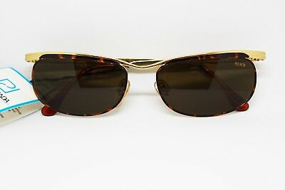Perseverando Pq Box Vintage Oval Sunglasses Unique Bridge Golden And Tortoise, Nos