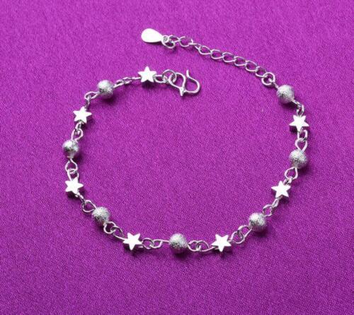Argent Sterling 925 SP Stars Ball Charm Perles Chaîne de pied Bracelet Bracelet