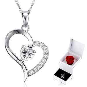 Beauty-Gift-for-Mom-Crystal-Women-039-s-Necklace-Heart-Pendant-Engraved-034-I-Love-You-034