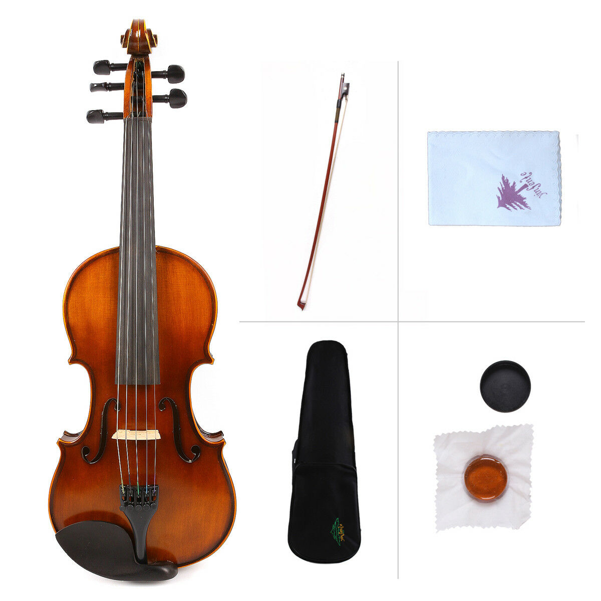 Yinfente 5string Maple+Spruce Handmade Violin 4 4 Full Size Free Case Bow Rosin