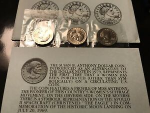 1980 P  D and S Susan B 3 BU Coins Anthony  SBA Dollars mint cello