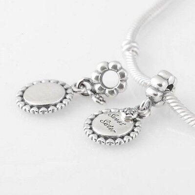 SWEET SISTER 925 Sterling Silver Solid Dangle Charm Bead for Bracelet