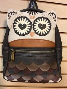 [LFBK0126] Loungefly Owl Brown And White Mini Backpack