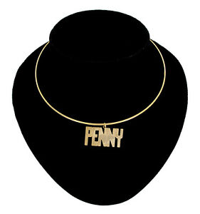 Name-Jewelry-Choker-Gold-Tone-Bangle-Wire-034-Penny-034-Necklace-15-1-2-034