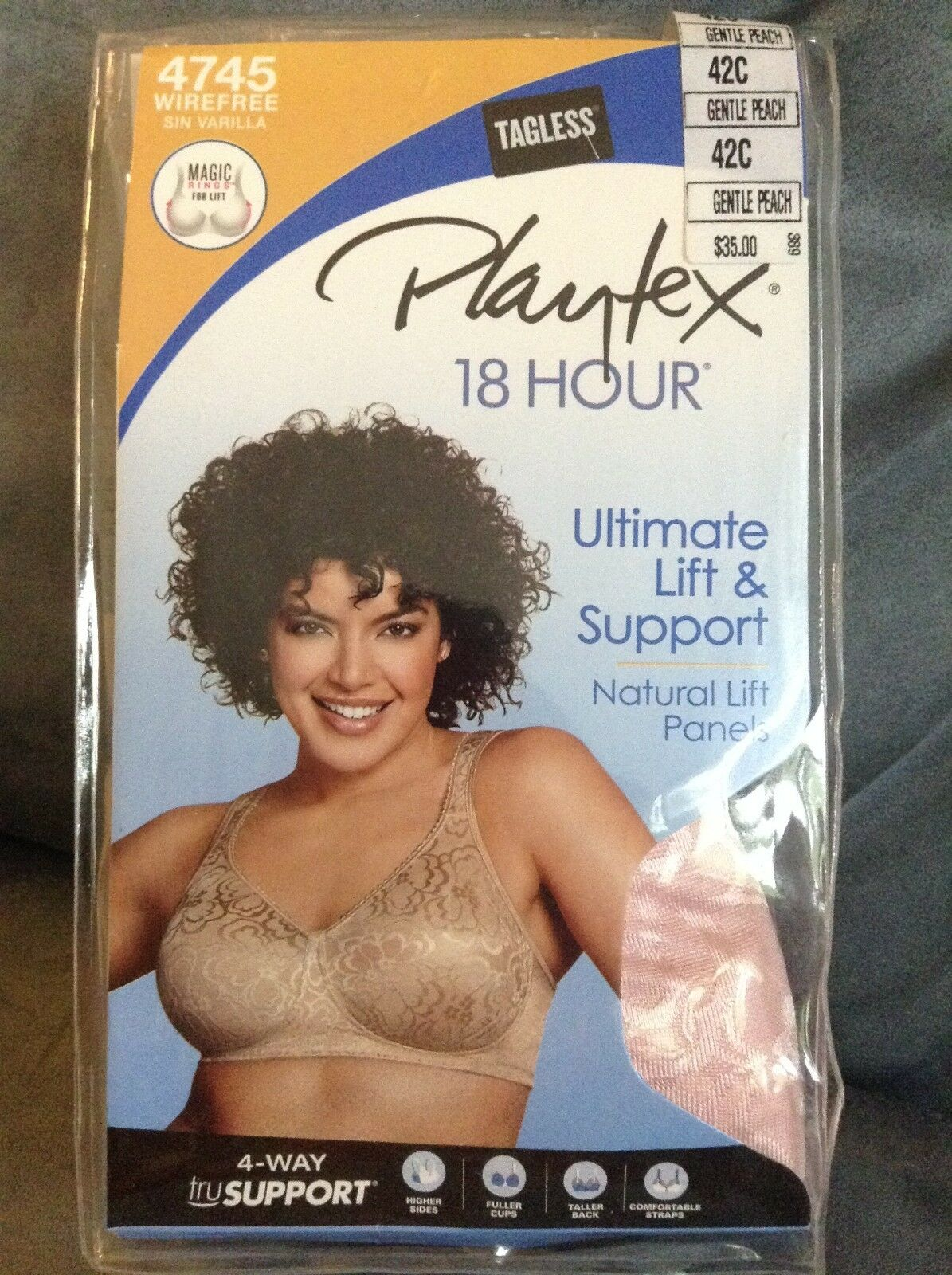 PLAYTEX WIREFREE 18 HOUR TAGLESS BRA LIFT & SUPPORT SIZE 42C GENTLE PEACH
