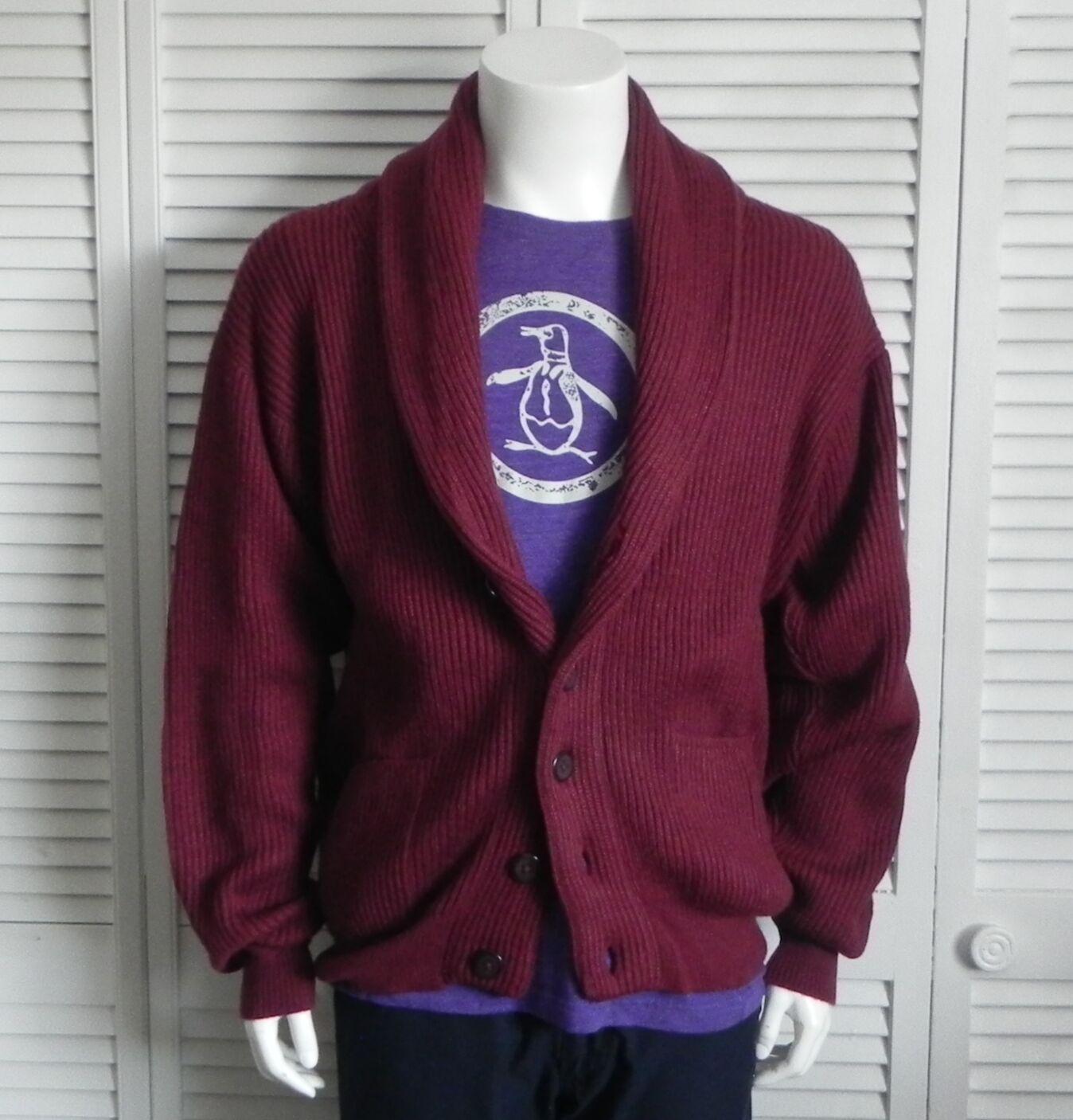 NEW  Herren SIZE M ALPACA Burgundy ROT Ribbed Shawl Collar Cardigan Sweater PERU